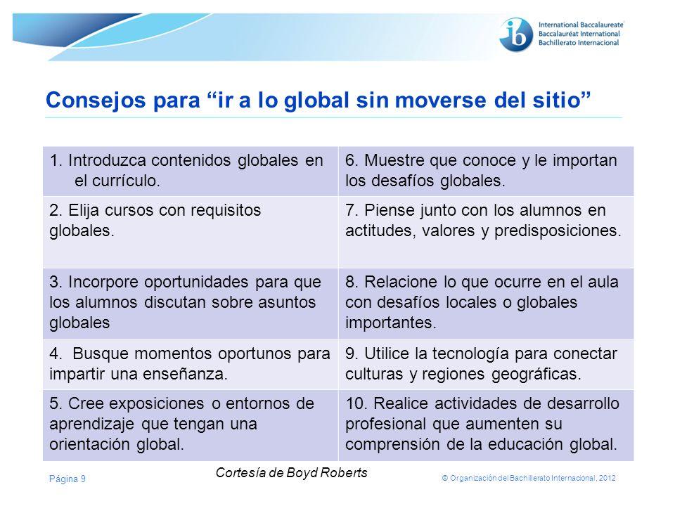 © Organización del Bachillerato Internacional, 2012 Consejos para ir a lo global sin moverse del sitio 1. Introduzca contenidos globales en el currícu