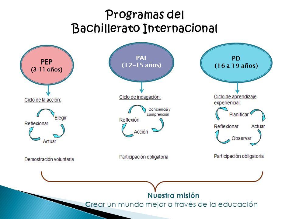 Nuestra misión C rear un mundo mejor a través de la educación Programas del Bachillerato Internacional PEP (3-11 años) PAI (12-15 años) PD (16 a 19 añ