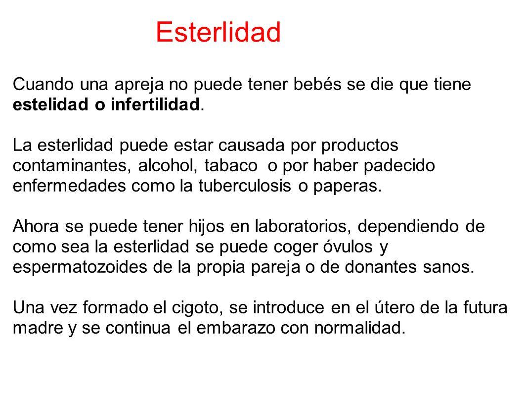 Esterlidad Cuando una apreja no puede tener bebés se die que tiene estelidad o infertilidad. La esterlidad puede estar causada por productos contamina