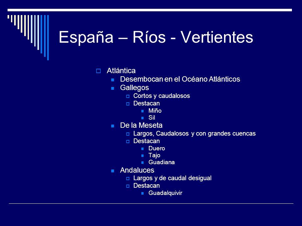 Los ríos de España La mayoría son Son ríos cortos Con poco caudal Pertenecen a tres vertientes Cantábrica Mediterránea Atlántica En islas No hay ríos
