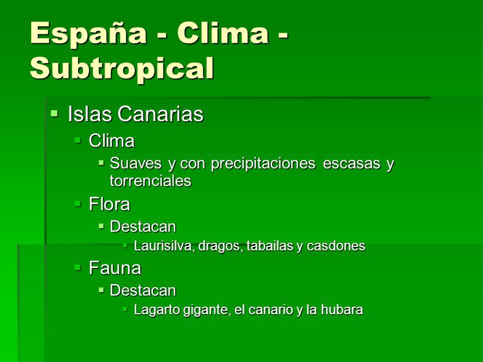 España - Clima - Mediterráneo Casi toda España Casi toda España Clima Clima Continentalizado Continentalizado Extremas con precipitaciones escasas Ext