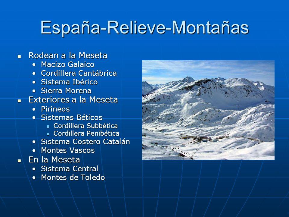 El Relieve De España Meseta Central Submeseta Sur Montes de Toledo Sistema Central SomosierraGuadarramaGredos Submeseta Norte