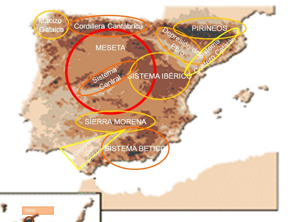 MESETA PIRINEOS Depresión del Ebro SIERRA MORENA SISTEMA BETICO TEIDE SISTEMA IBÉRICO Sistema Central Depresión Del Guadalquivir Macizo Galaico Cordillera Cantábrica Sistema Costero Catalán