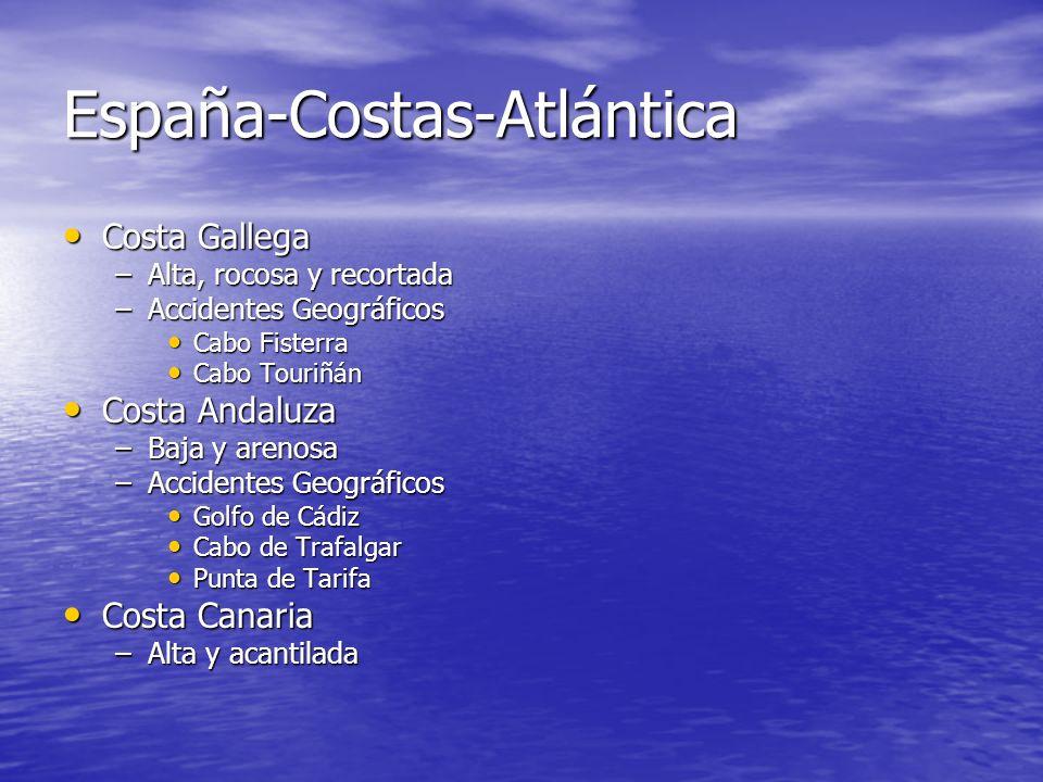 Las Costas de España Costa atlántica Costa atlántica Costa cantábrica Costa cantábrica Costa mediterránea Costa mediterránea