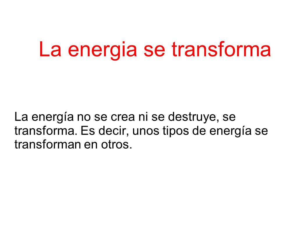 La energia se transforma La energía no se crea ni se destruye, se transforma.