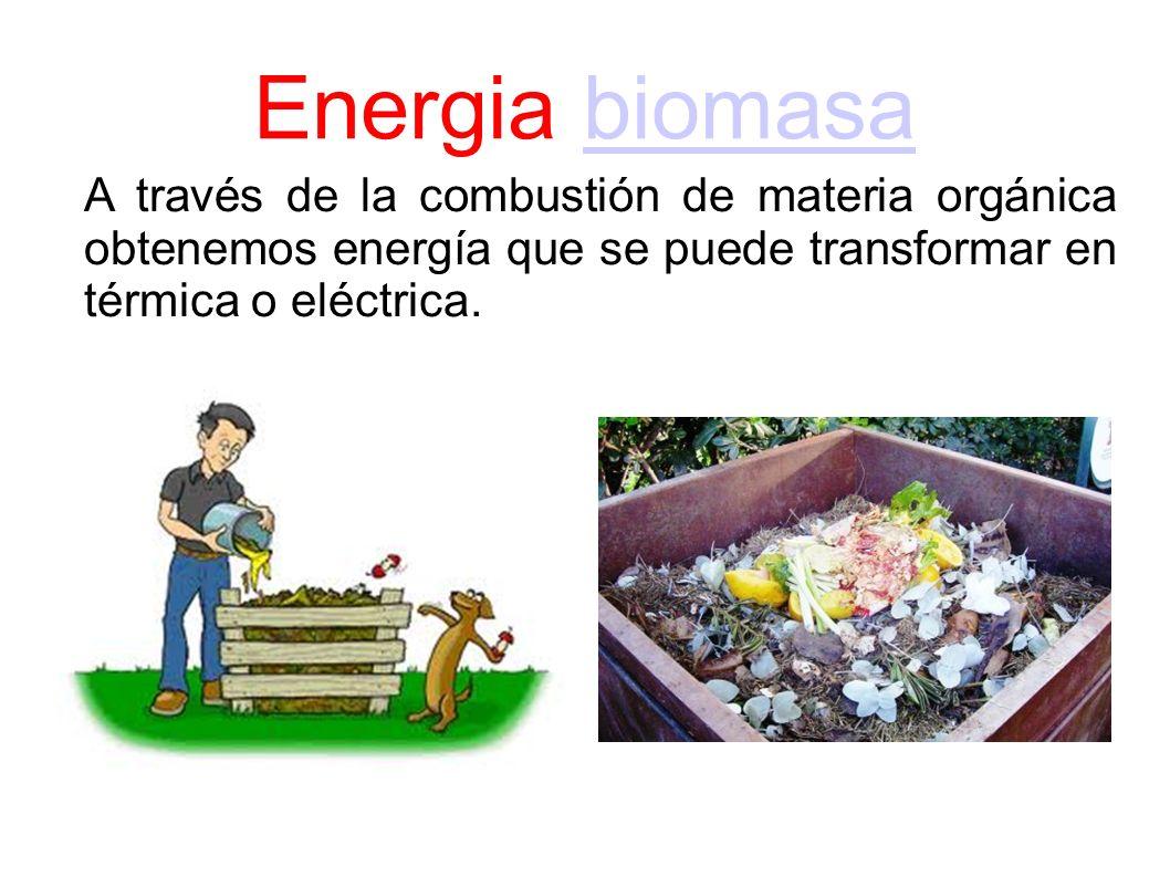 Energia biomasabiomasa A través de la combustión de materia orgánica obtenemos energía que se puede transformar en térmica o eléctrica.