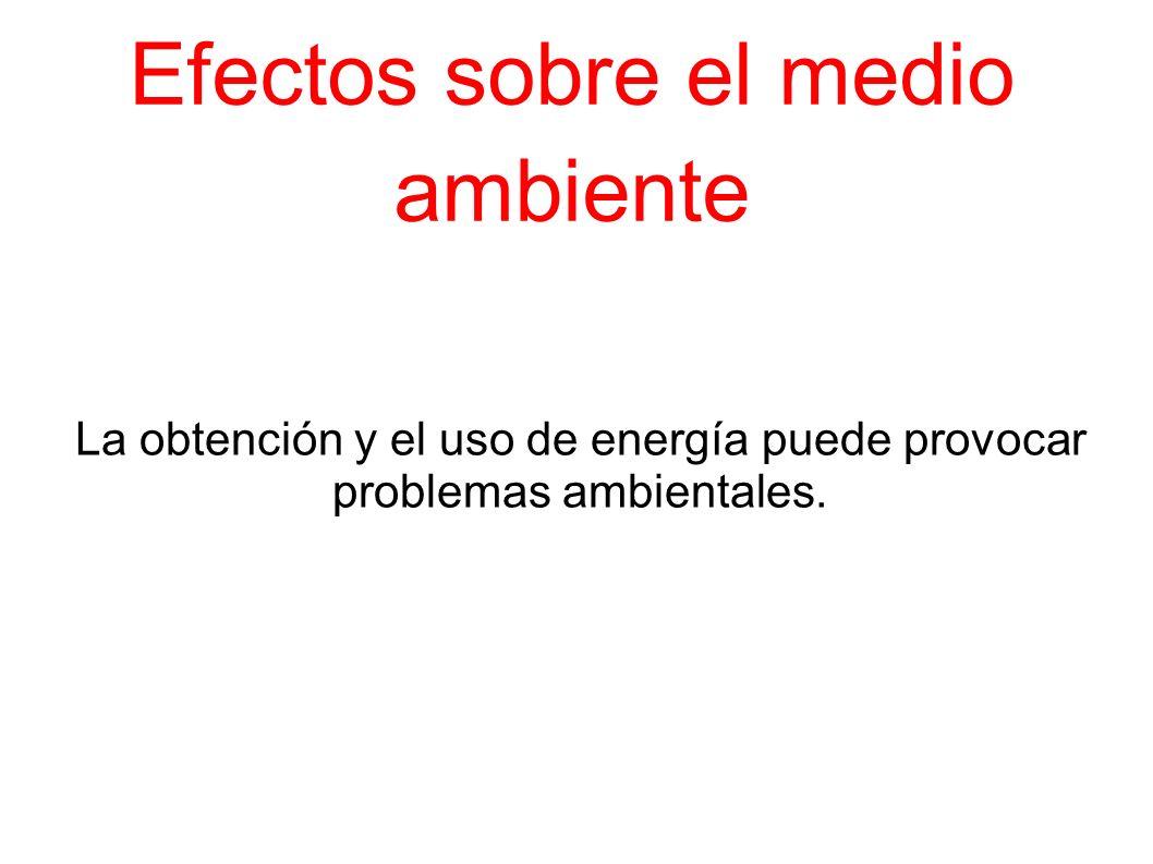 Efectos sobre el medio ambiente La obtención y el uso de energía puede provocar problemas ambientales.
