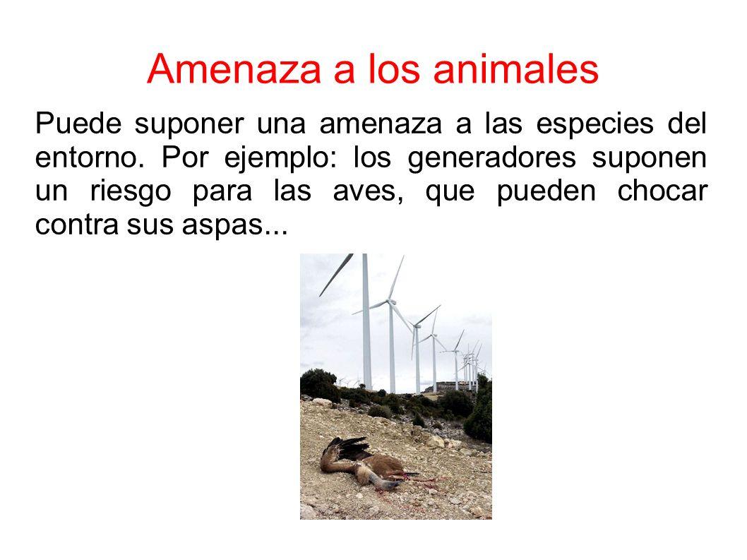 Amenaza a los animales Puede suponer una amenaza a las especies del entorno.