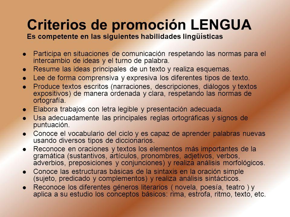 Criterios de promoción LENGUA Es competente en las siguientes habilidades lingüísticas Participa en situaciones de comunicación respetando las normas