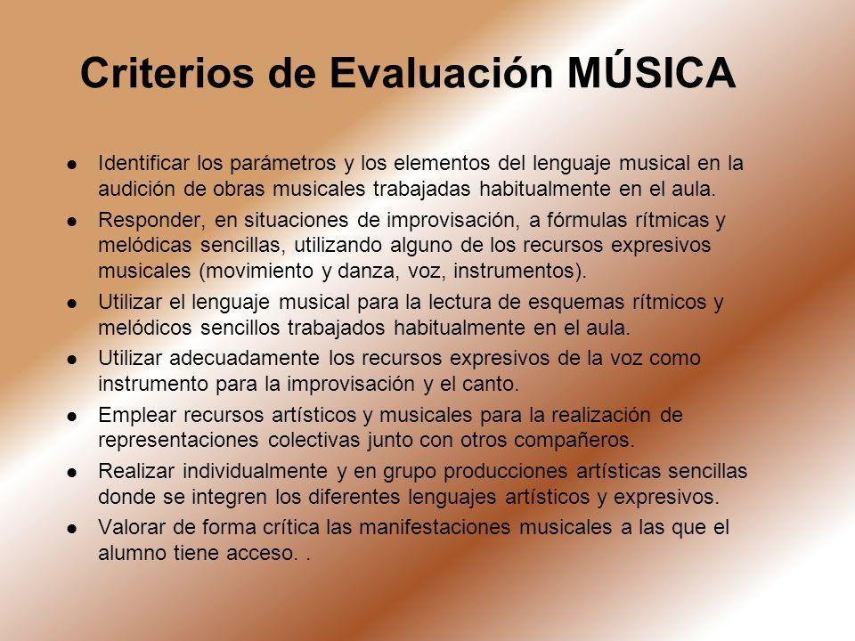 Criterios de Evaluación MÚSICA Identificar los parámetros y los elementos del lenguaje musical en la audición de obras musicales trabajadas habitualme