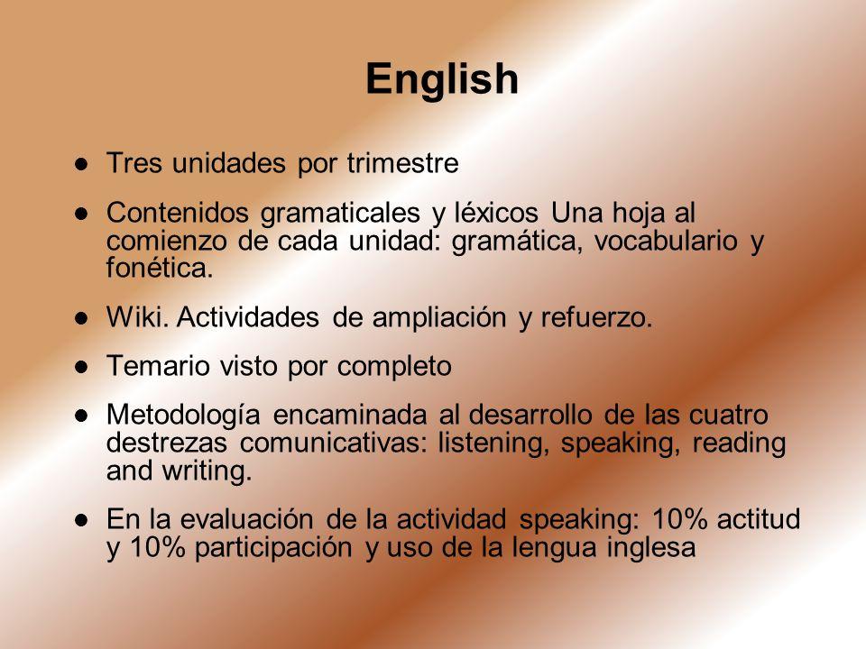 English Tres unidades por trimestre Contenidos gramaticales y léxicos Una hoja al comienzo de cada unidad: gramática, vocabulario y fonética. Wiki. Ac