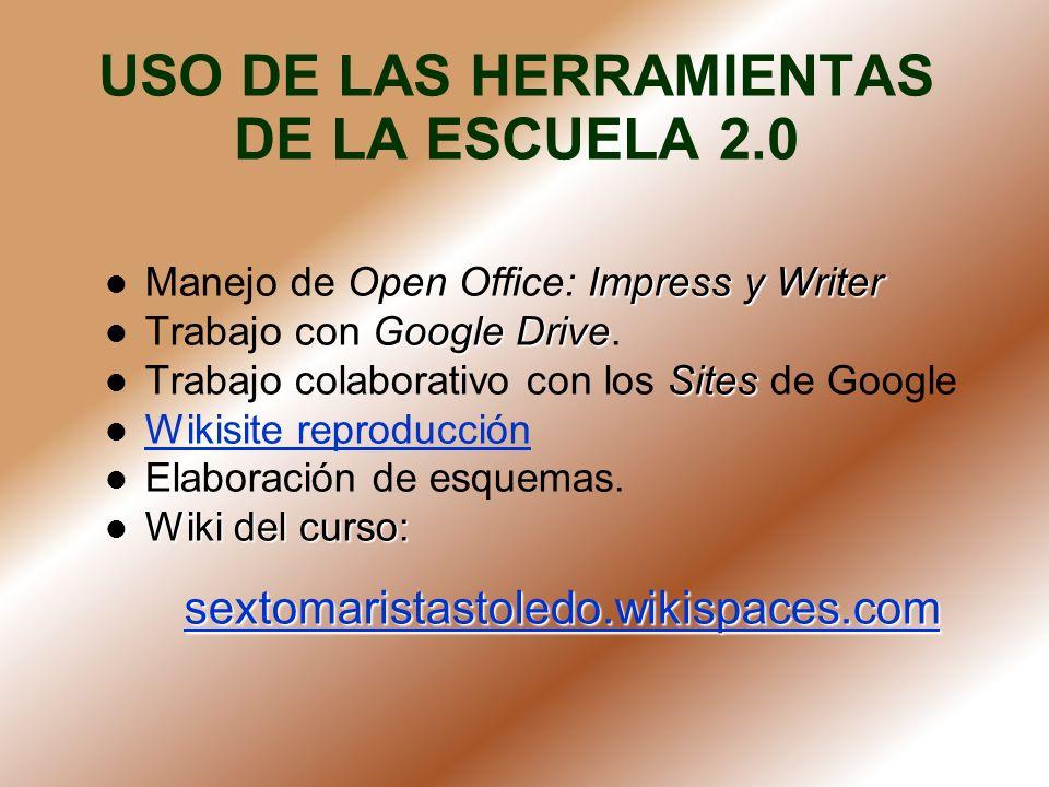 USO DE LAS HERRAMIENTAS DE LA ESCUELA 2.0 Impress y Writer Manejo de Open Office: Impress y Writer Google Drive Trabajo con Google Drive. Sites Trabaj