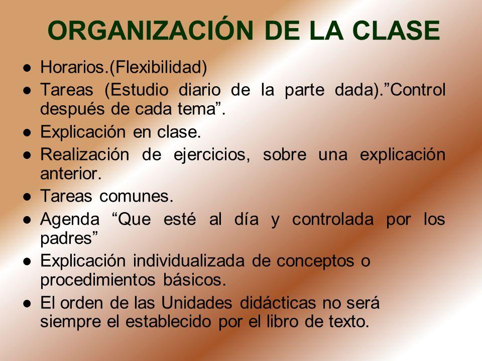 ORGANIZACIÓN DE LA CLASE Horarios.(Flexibilidad) Tareas (Estudio diario de la parte dada).Control después de cada tema. Explicación en clase. Realizac