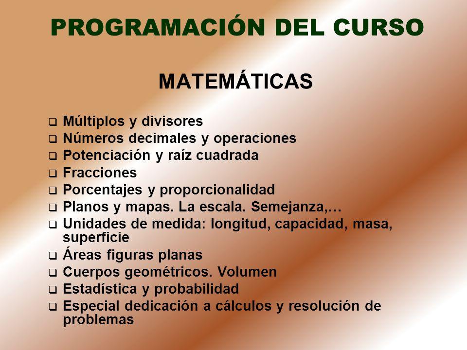 PROGRAMACIÓN DEL CURSO MATEMÁTICAS Múltiplos y divisores Números decimales y operaciones Potenciación y raíz cuadrada Fracciones Porcentajes y proporc