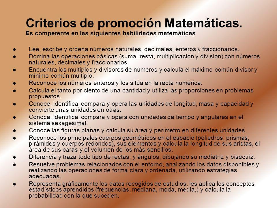 Criterios de promoción Matemáticas. Es competente en las siguientes habilidades matemáticas Lee, escribe y ordena números naturales, decimales, entero