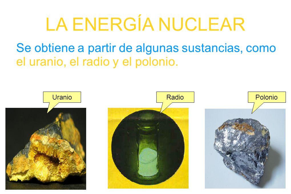 LA ENERGÍA NUCLEAR Se obtiene a partir de algunas sustancias, como el uranio, el radio y el polonio. UranioRadioPolonio