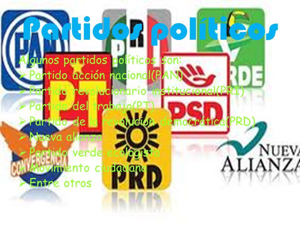 Partidos políticos Algunos partidos políticos son: Partido acción nacional(PAN) Partido revolucionario institucional(PRI) Partido del trabajo(PT) Part