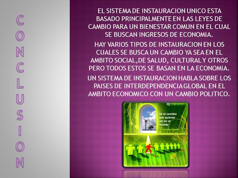 EL SISTEMA DE INSTAURACION UNICO ESTA BASADO PRINCIPALMENTE EN LAS LEYES DE CAMBIO PARA UN BIENESTAR COMUN EN EL CUAL SE BUSCAN INGRESOS DE ECONOMIA.