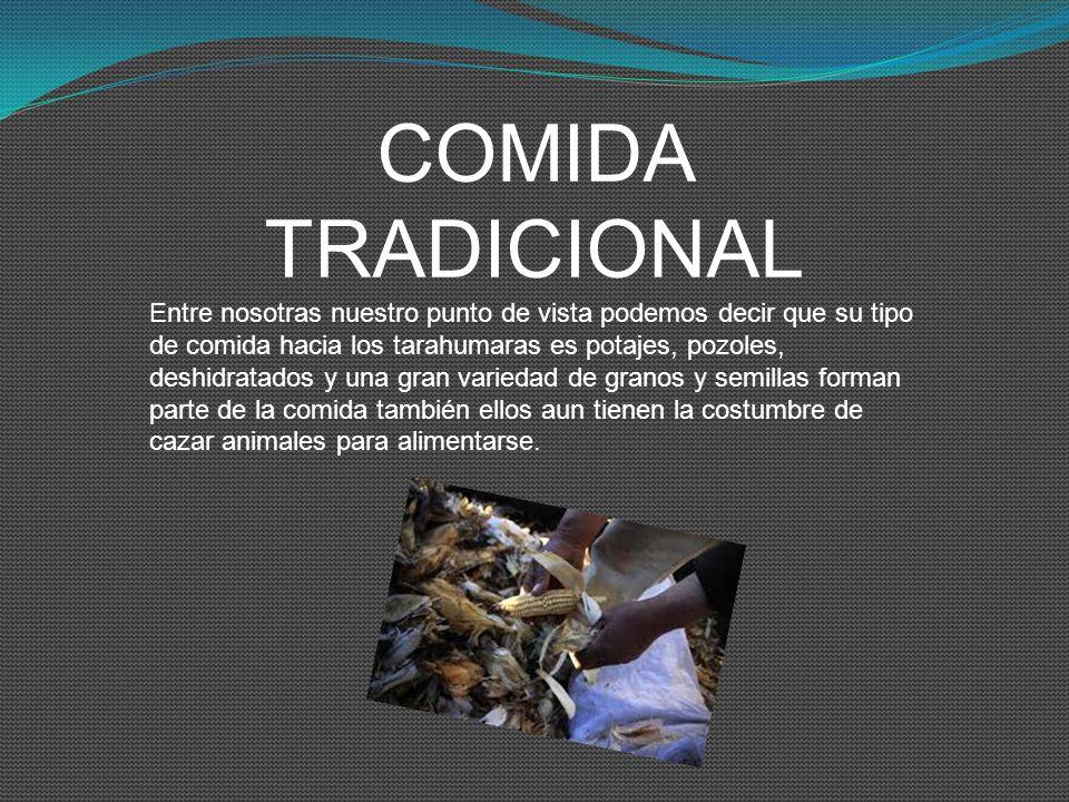 COMIDA TRADICIONAL Entre nosotras nuestro punto de vista podemos decir que su tipo de comida hacia los tarahumaras es potajes, pozoles, deshidratados