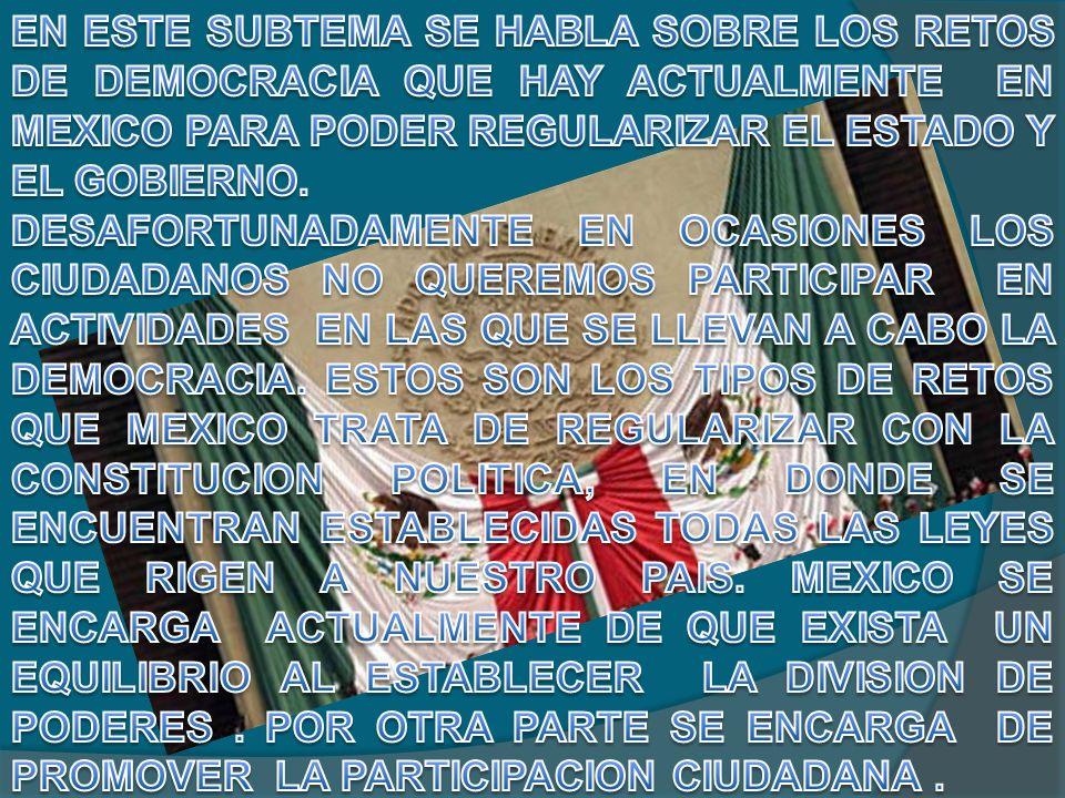 MEXICO HA PASADO POR DIVERSOS PROCESOS, FORMAS DE GOBIERNO, ENFRENTAMIENTOS ENTRE OTROS PARA PODER LLEGAR A TENER UNA FORMA DE GOBIERNO ESTABLE Y TENER UN EQUILIBRIO QUE AYUDARA A TENER UN BUEN DESARROLLO.