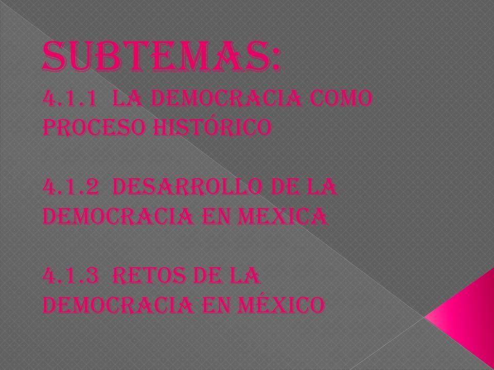SUBTEMAS: 4.1.1 La democracia como proceso histórico 4.1.2 desarrollo de la democracia en mexica 4.1.3 retos de la democracia en México