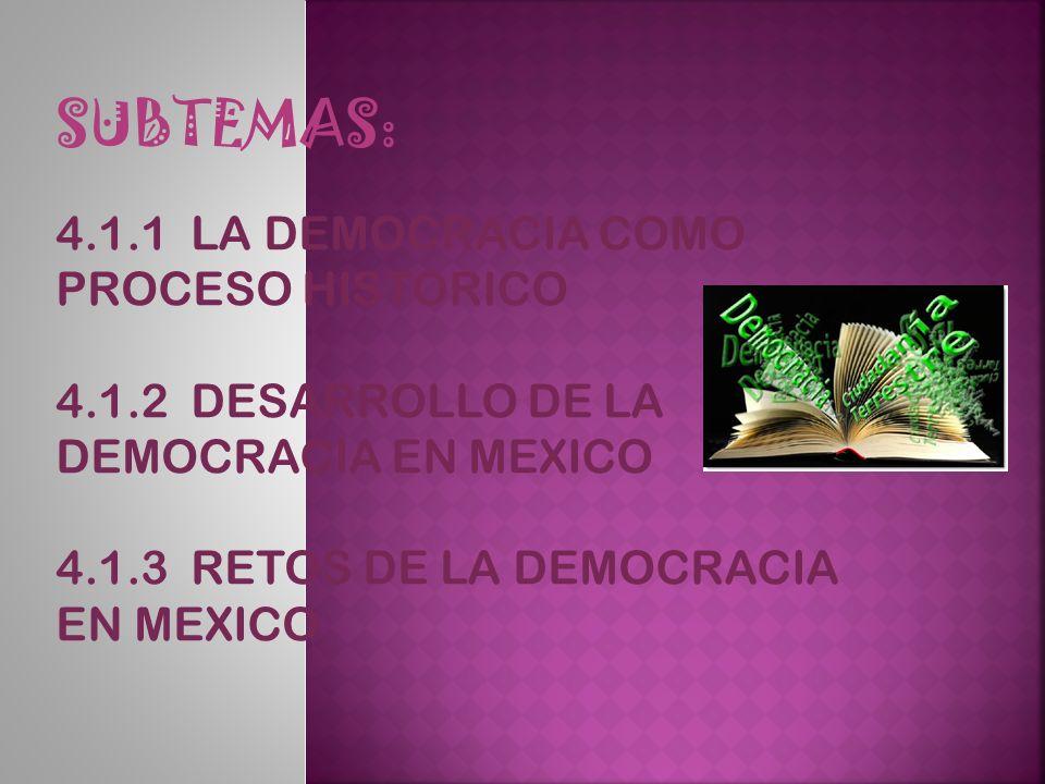 SUBTEMAS: 4.1.1 LA DEMOCRACIA COMO PROCESO HISTORICO 4.1.2 DESARROLLO DE LA DEMOCRACIA EN MEXICO 4.1.3 RETOS DE LA DEMOCRACIA EN MEXICO