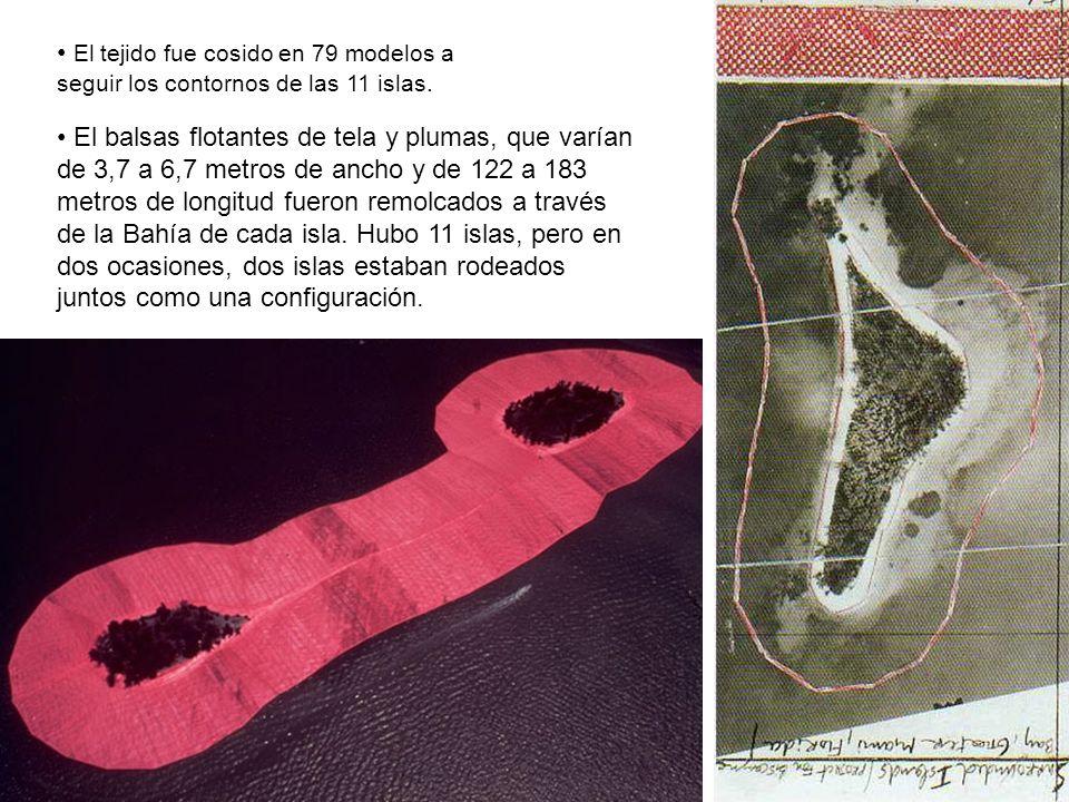El tejido fue cosido en 79 modelos a seguir los contornos de las 11 islas. El balsas flotantes de tela y plumas, que varían de 3,7 a 6,7 metros de anc