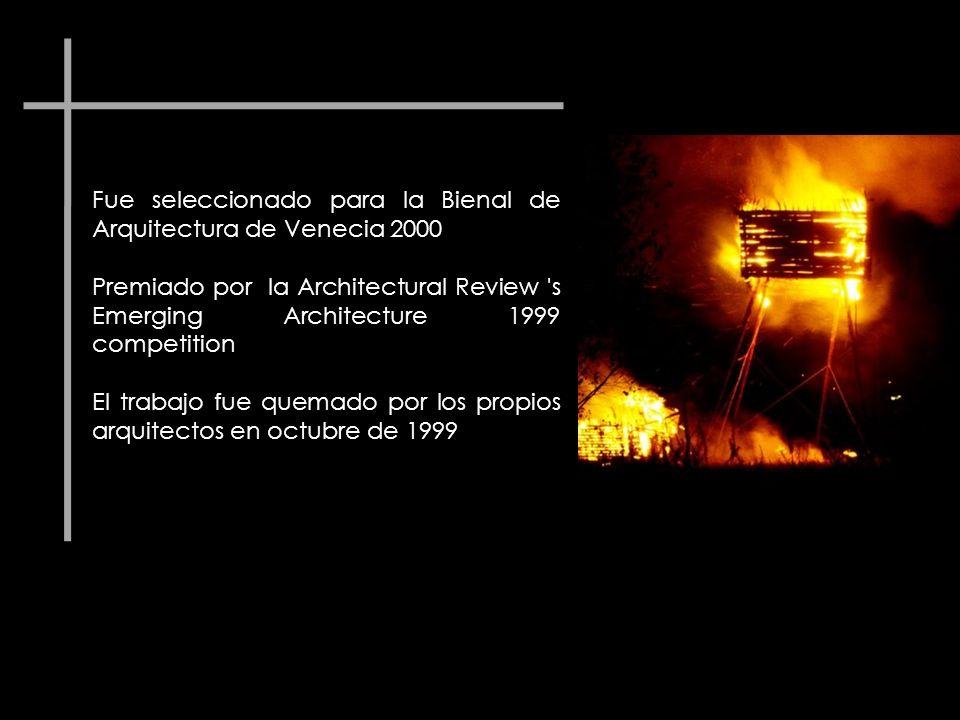 Fue seleccionado para la Bienal de Arquitectura de Venecia 2000 Premiado por la Architectural Review 's Emerging Architecture 1999 competition El trab