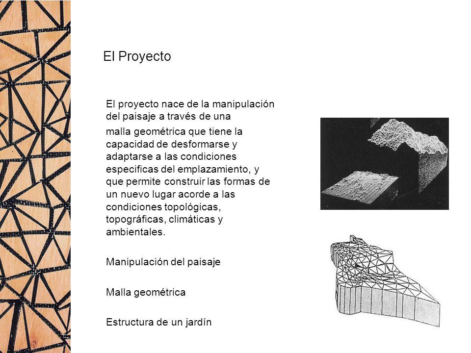 El Proyecto El proyecto nace de la manipulación del paisaje a través de una malla geométrica que tiene la capacidad de desformarse y adaptarse a las c
