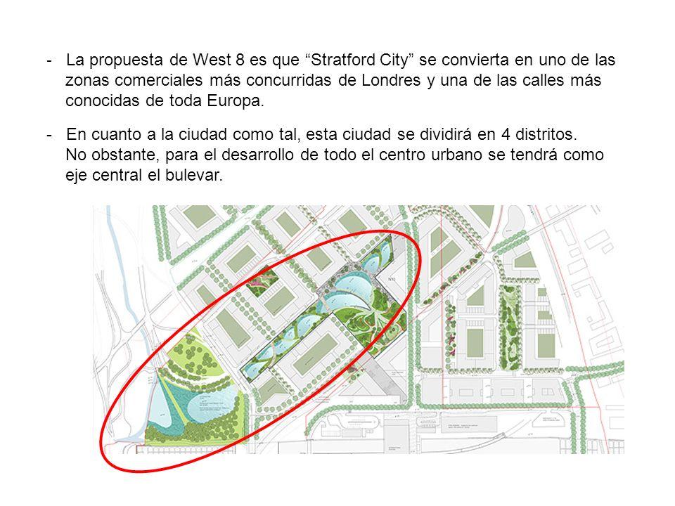 - La propuesta de West 8 es que Stratford City se convierta en uno de las zonas comerciales más concurridas de Londres y una de las calles más conocid