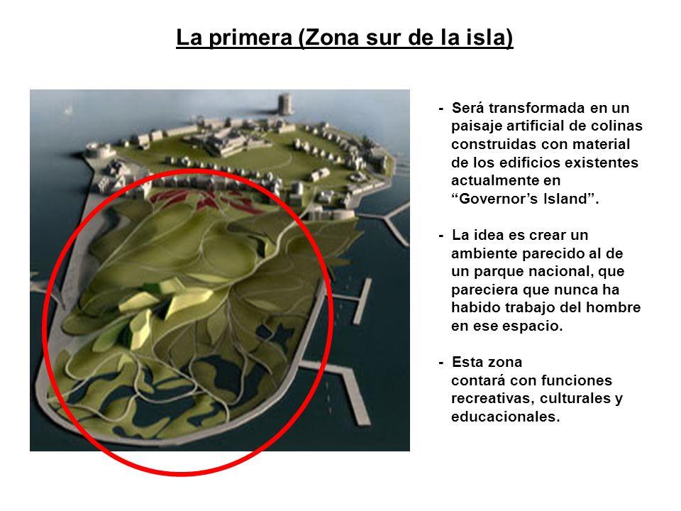 - Será transformada en un paisaje artificial de colinas construidas con material de los edificios existentes actualmente en Governor s Island. - La id