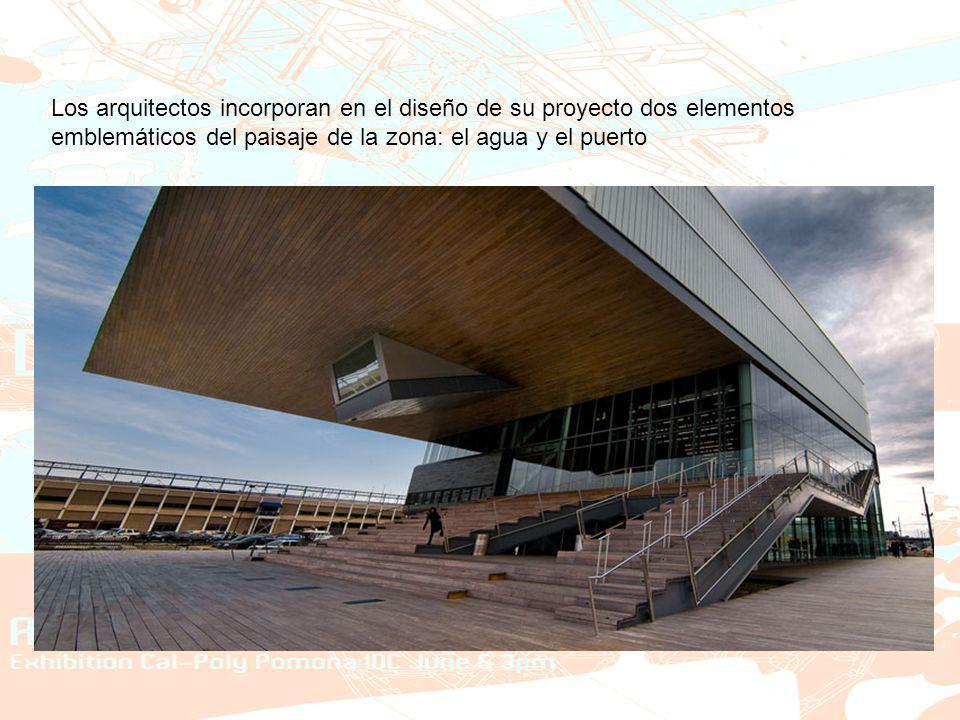 Los arquitectos incorporan en el diseño de su proyecto dos elementos emblemáticos del paisaje de la zona: el agua y el puerto