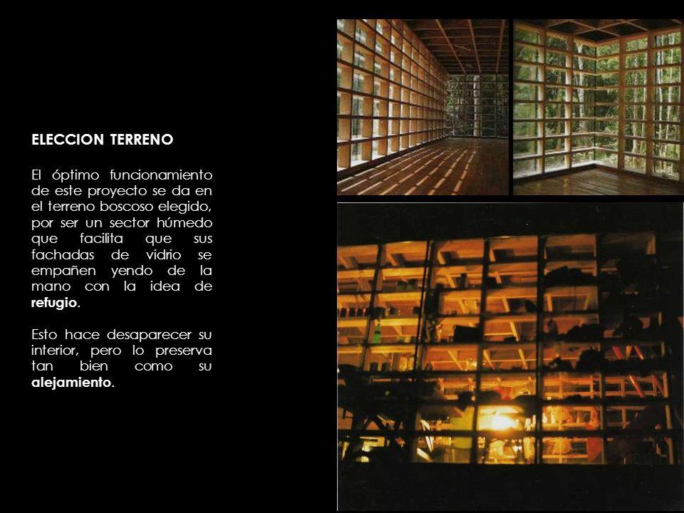 ELEMENTOS CONDICIONANTES Elementos como su fachada de vidrio y su estructura de madera reticulada en forma de módulos nos da el sentido principal de la construcción: reflejar la cotidianeidad de sus habitantes.