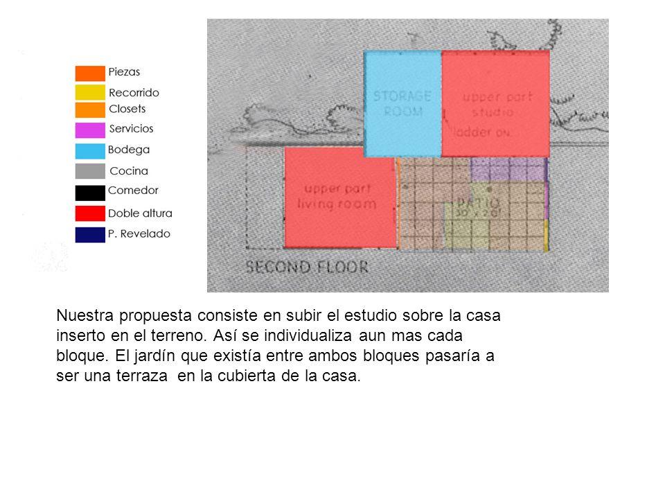 Nuestra propuesta consiste en subir el estudio sobre la casa inserto en el terreno. Así se individualiza aun mas cada bloque. El jardín que existía en