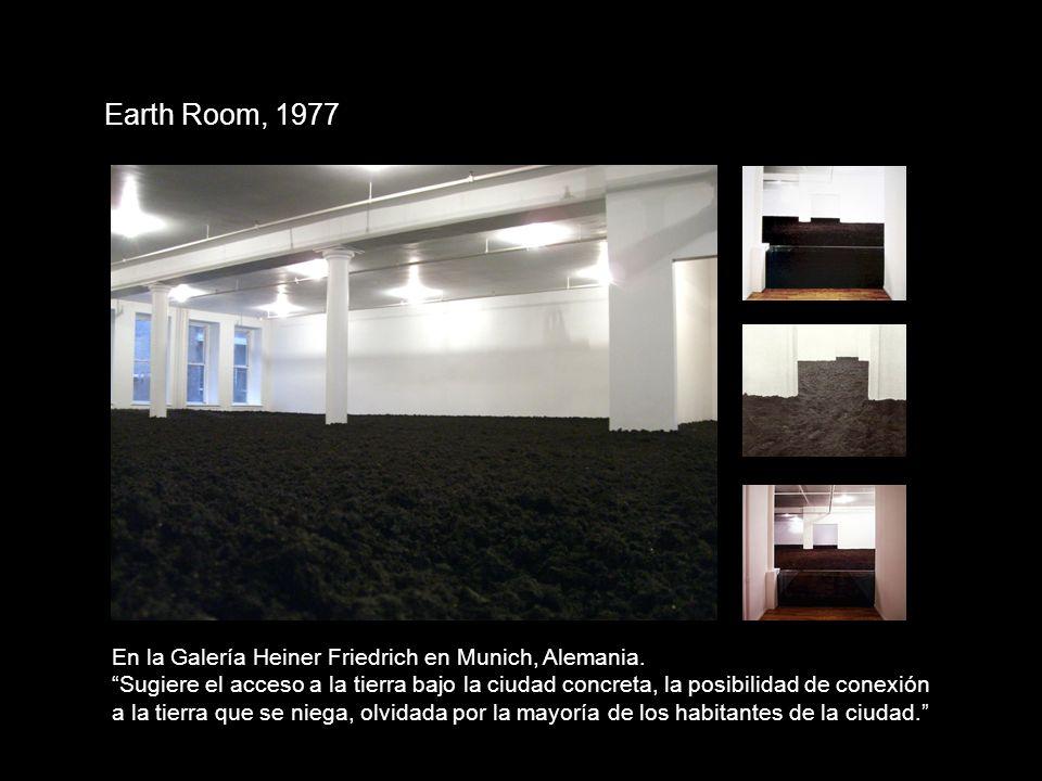 Earth Room, 1977 En la Galería Heiner Friedrich en Munich, Alemania. Sugiere el acceso a la tierra bajo la ciudad concreta, la posibilidad de conexión