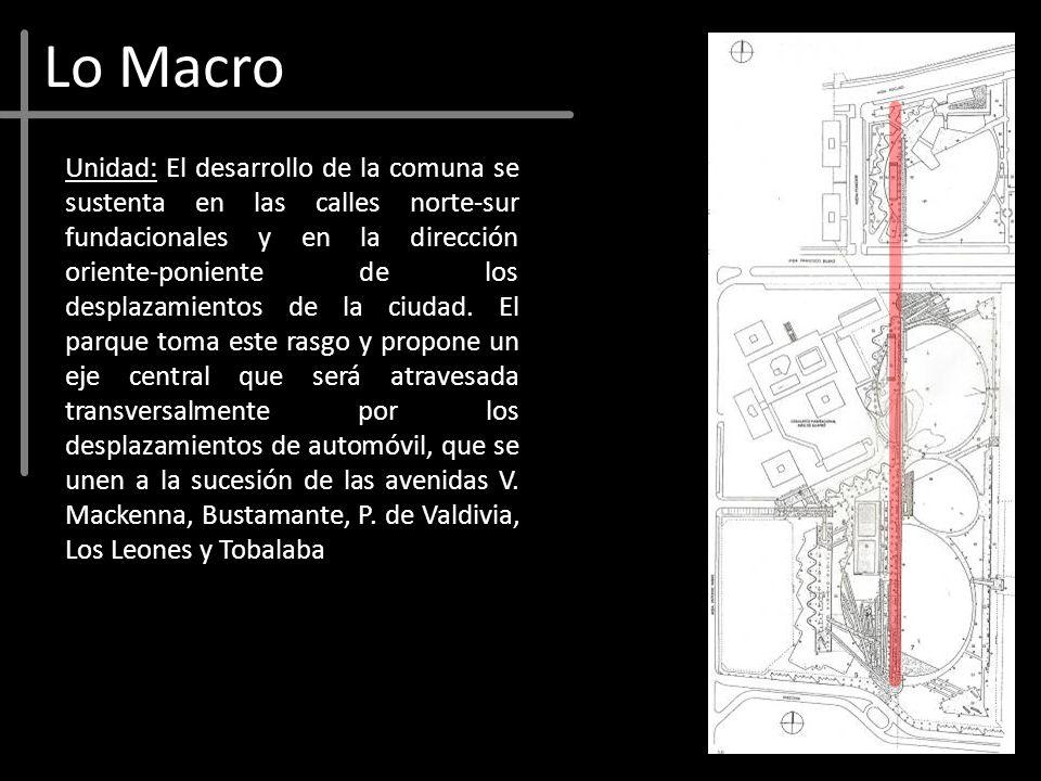 Lo Macro Unidad: El desarrollo de la comuna se sustenta en las calles norte-sur fundacionales y en la dirección oriente-poniente de los desplazamiento