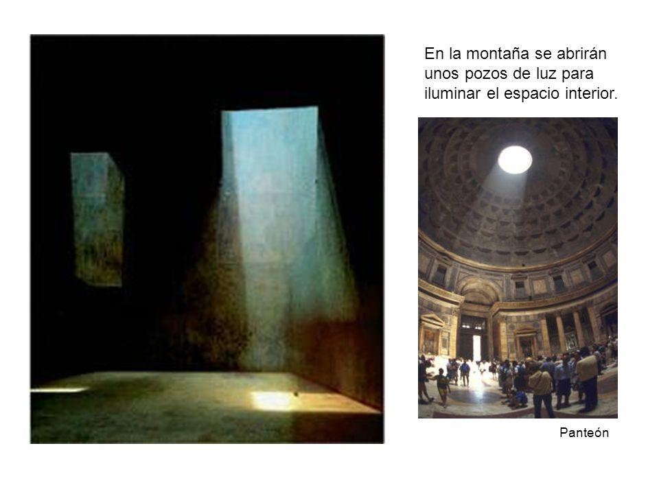 En la montaña se abrirán unos pozos de luz para iluminar el espacio interior. Panteón