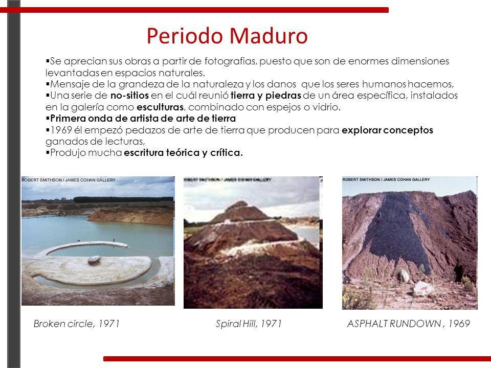 Periodo Maduro Se aprecian sus obras a partir de fotografias, puesto que son de enormes dimensiones levantadas en espacios naturales. Mensaje de la gr