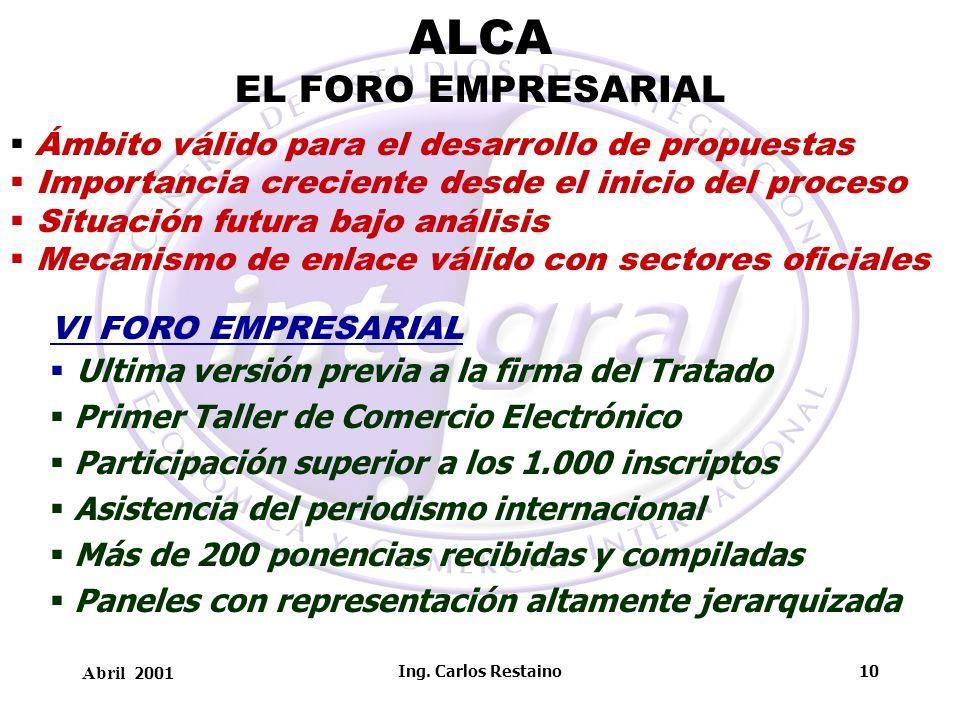 Abril 2001 Ing. Carlos Restaino10 ALCA EL FORO EMPRESARIAL Ámbito válido para el desarrollo de propuestas Importancia creciente desde el inicio del pr