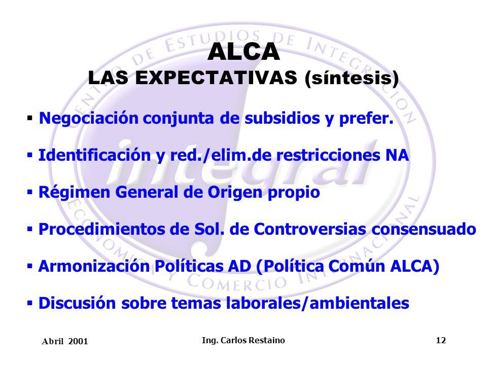 Abril 2001 Ing. Carlos Restaino12 ALCA LAS EXPECTATIVAS (síntesis) Negociación conjunta de subsidios y prefer. Identificación y red./elim.de restricci