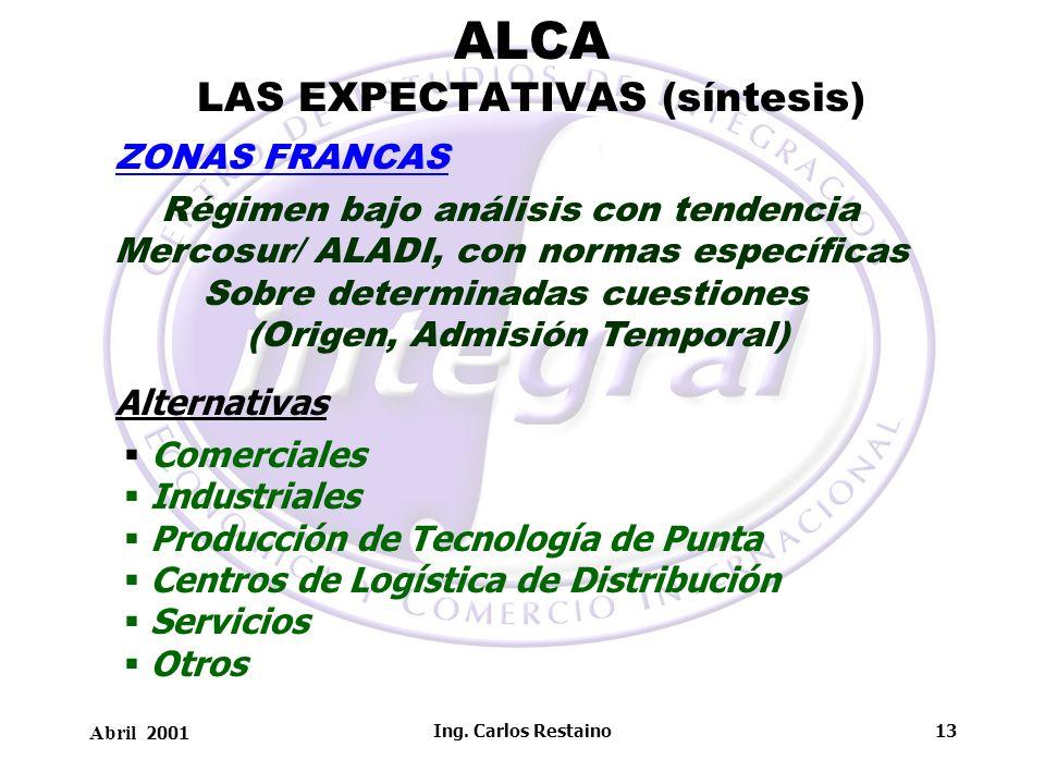 Abril 2001 Ing. Carlos Restaino13 ALCA LAS EXPECTATIVAS (síntesis) Régimen bajo análisis con tendencia Mercosur/ ALADI, con normas específicas Sobre d