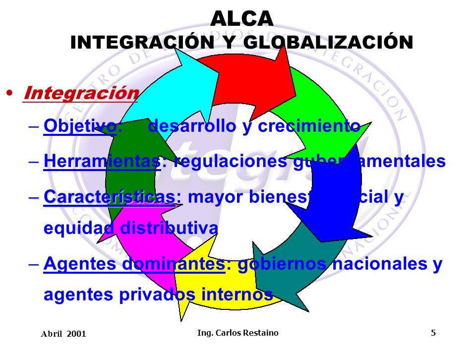 Abril 2001 Ing. Carlos Restaino5 ALCA INTEGRACIÓN Y GLOBALIZACIÓN Integración –Objetivo: desarrollo y crecimiento –Herramientas: regulaciones gubernam