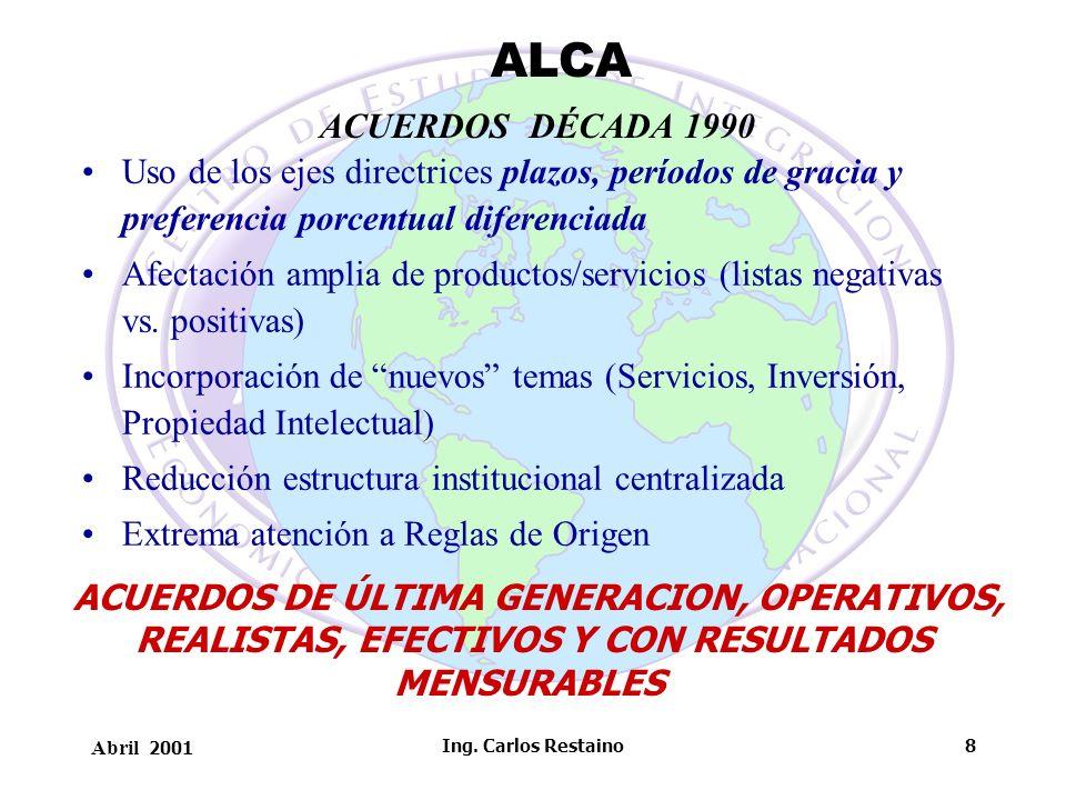 Abril 2001 Ing. Carlos Restaino8 ACUERDOS DÉCADA 1990 Uso de los ejes directrices plazos, períodos de gracia y preferencia porcentual diferenciada Afe