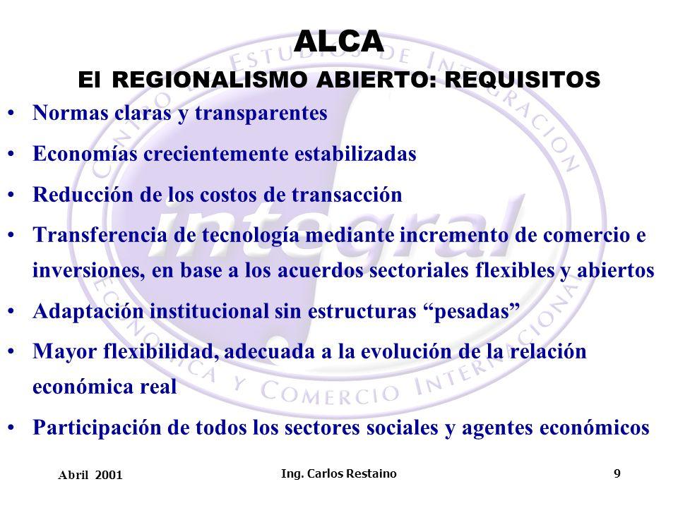 Abril 2001 Ing. Carlos Restaino9 ALCA El REGIONALISMO ABIERTO: REQUISITOS Normas claras y transparentes Economías crecientemente estabilizadas Reducci