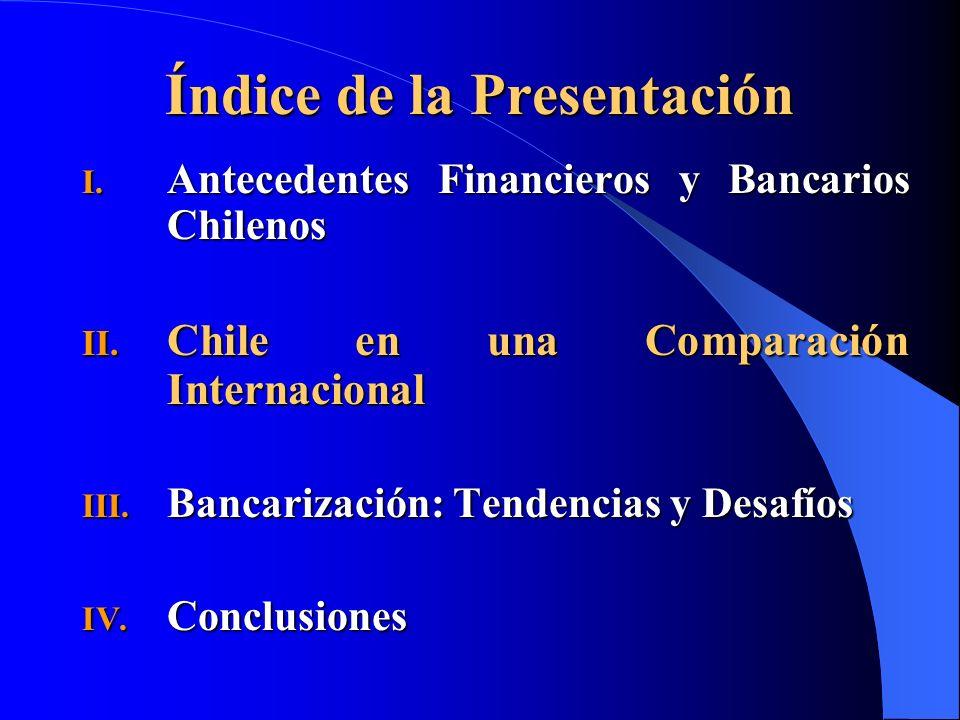 Índice de la Presentación I. Antecedentes Financieros y Bancarios Chilenos II. Chile en una Comparación Internacional III. Bancarización: Tendencias y