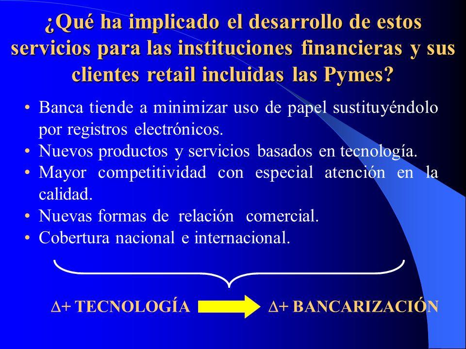 ¿Qué ha implicado el desarrollo de estos servicios para las instituciones financieras y sus clientes retail incluidas las Pymes? Banca tiende a minimi