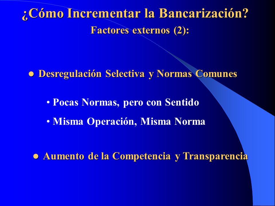¿Cómo Incrementar la Bancarización? Factores externos (2): Desregulación Selectiva y Normas Comunes Desregulación Selectiva y Normas Comunes Pocas Nor