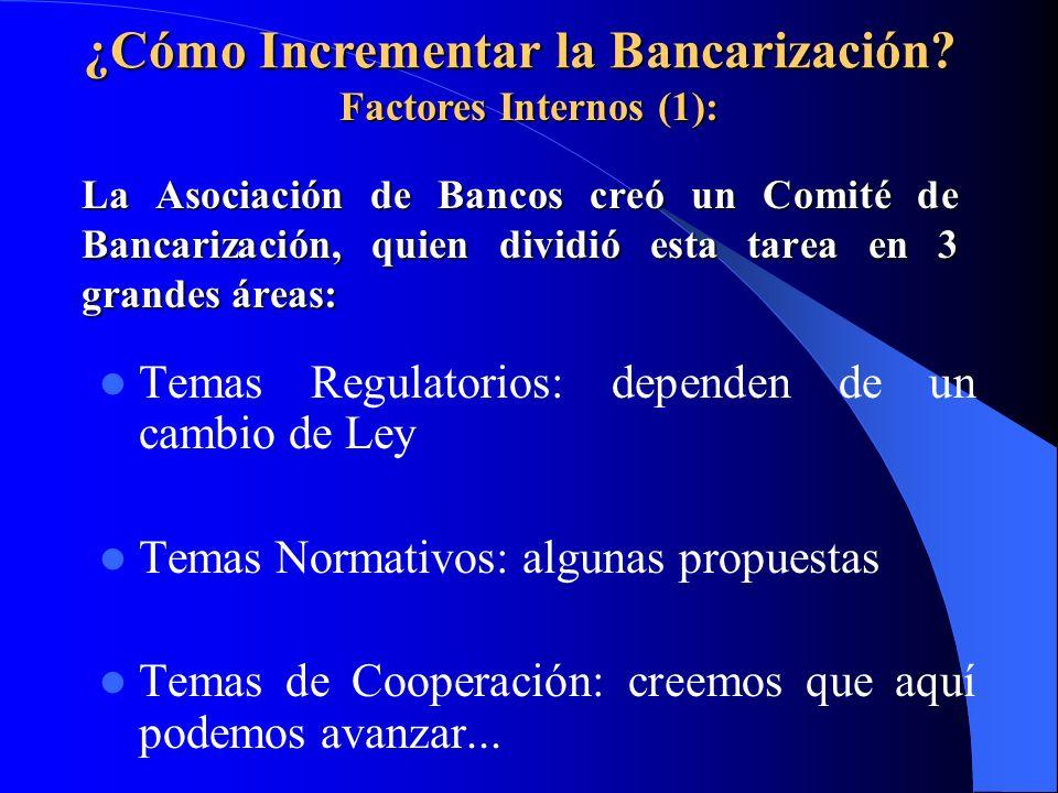 La Asociación de Bancos creó un Comité de Bancarización, quien dividió esta tarea en 3 grandes áreas: Temas Regulatorios: dependen de un cambio de Ley