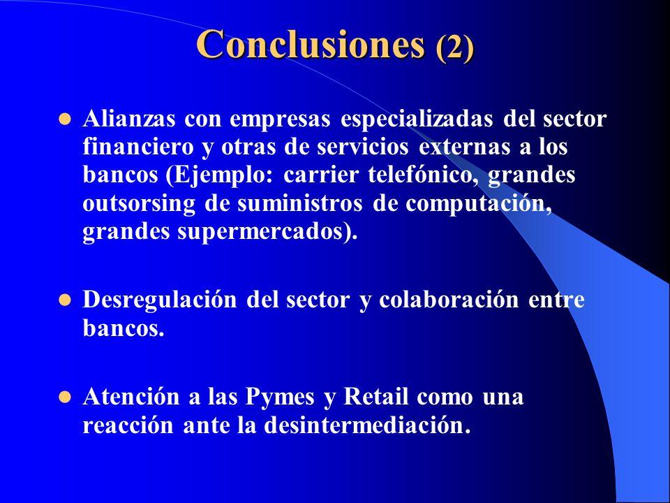 Conclusiones (2) Alianzas con empresas especializadas del sector financiero y otras de servicios externas a los bancos (Ejemplo: carrier telefónico, g