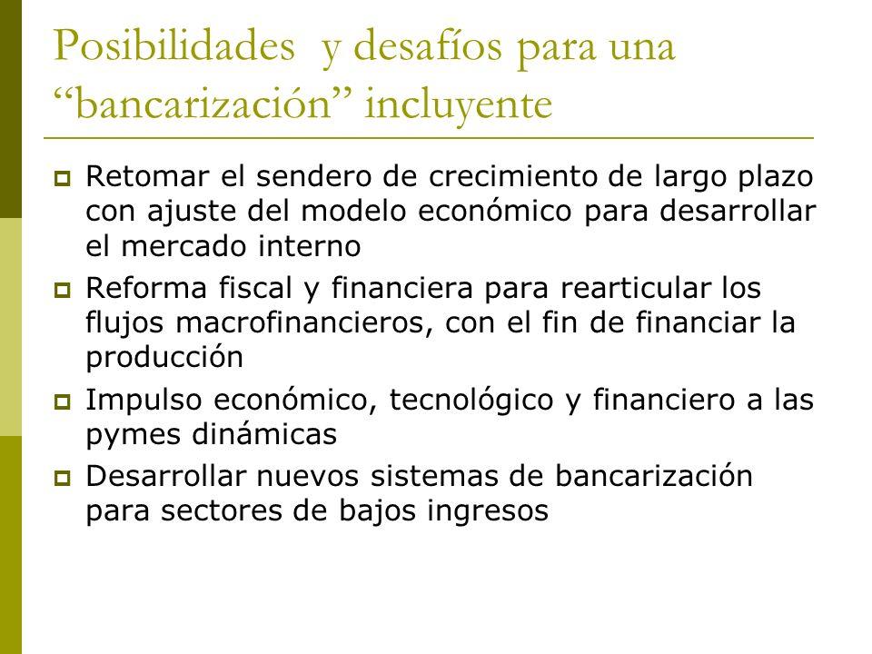 Posibilidades y desafíos para una bancarización incluyente Retomar el sendero de crecimiento de largo plazo con ajuste del modelo económico para desar